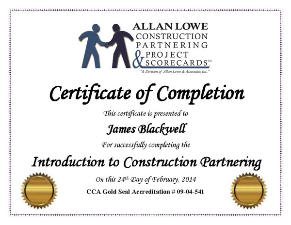 Construction Partnering Training – Certificate of Completion Construction
